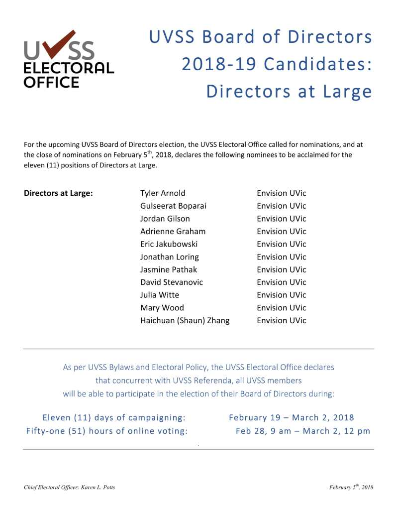 2018 Spring - UVSS Board of Directors Elections - DAL ACCLAIMED - FINAL to Post-1